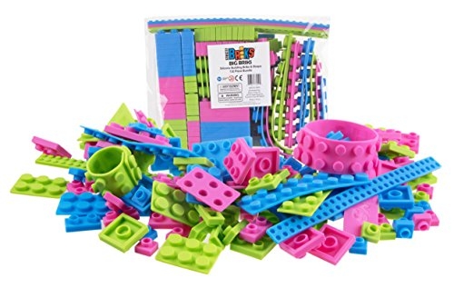 Silicone Briks and Straps 132 Piece Flexible Building Bricks by Strictly Briks | 100% Compatible with all Major Brands | Large Pegs for Toddlers | Ages 3+ | Soft and Flexible | Patent Pending