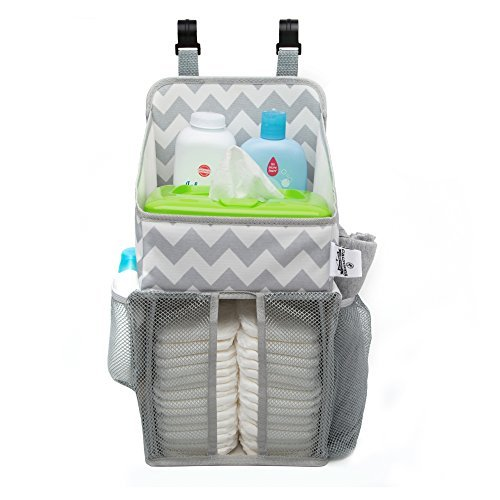 (Playard Diaper Caddy and Nursery Organizer for Newborn Baby Essentials, Chevron Pattern, Grey and White, Baby Accessory Organizer by California Home Goods)