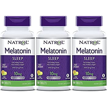 Natrol Fast Dissolve Melatonin Tablets 10 mg. Citrus Punch 60 Tabs (Pack of 3)