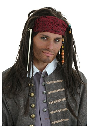 Fun Costumes Realistic Caribbean Pirate Brown Braids Captain Wig Standard ()