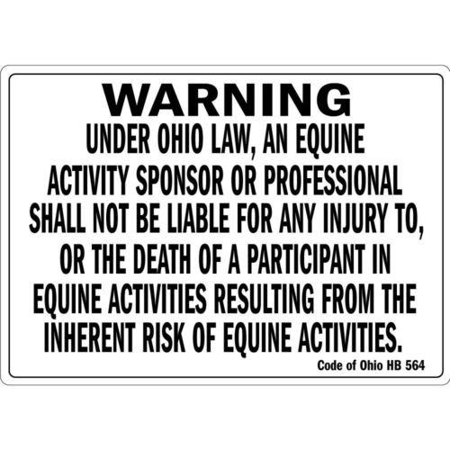 Warning Under Ohio Law An Equine Activity Osha Metal Aluminum Sign 10 inch x 14 inch custom Home Outdoor garadge Cave decor