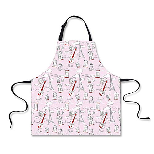 iPrint Personality Apron,Paris,Abstract City Image Violin Cat with Bow Tie Eiffel Tower Illustration Decorative,Pale Pink Scarlet White,Picture Printed Apron.29.5