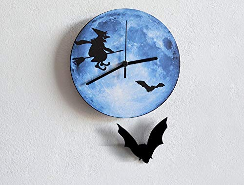 (Halloween Bat Swinging on Moon with Witch Silhouette - Pendulum Wall Clock)