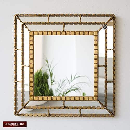 Amazon.com: Gold Decorative Accent Square Mirror Wall 18.1