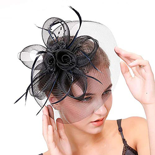 Ladies Day Feather Hair Fascinator Hats for Melbourne Cup Day Prix de Diane Grand National