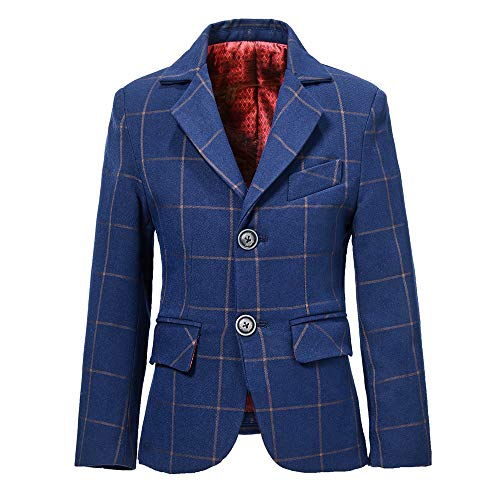 - Boys Blazer Big Kids Dress Up Sports Coat for Boys Plaid Blue Size 14