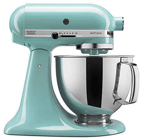 KitchenAid KSM150PSAQ Artisan Series 5-Qt. Stand Mixer with Pouring Shield - Aqua Sky (Best Dough Mixer For Roti)