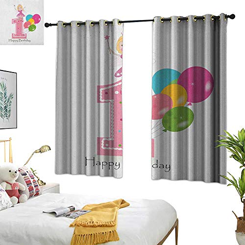 Warm Family Curtain Set 1st Birthday,Princess Fairy Party Theme with Best Wishes Pink Wand and Balloons, Pale Pink and Lilac 72