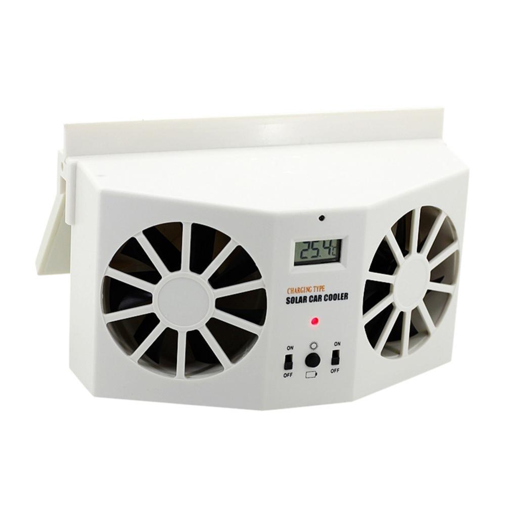 Chezaa Fan, Solar Powered Car Window Air Vent Ventilator Mini Air Conditioner Cool Fan, White White (White)