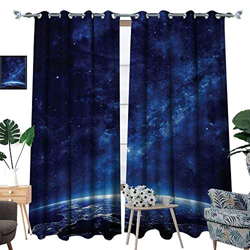 Light Night Glass Cardinals (RenteriaDecor Space Thermal Insulating Blackout Curtain Earth at Night from Deep Atmosphere Vibrant Milky Way Lights Starfield Ecliptic Scene Patterned Drape for Glass Door W84 x L96 Dark Blue)