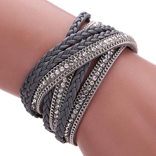 Womens Leather Wrap Bracelet (Susenstone Women Bohemian Bracelet Woven Braided Handmade Wrap)