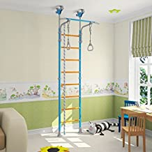 Kids Playground Play Set for Floor & Ceiling / Indoor Training Gym Sport Set with Accessories Equipment: Climber, Gymnastic Swing Rings, Climbing Rope / Home, School, Playroom / WallBarz Family
