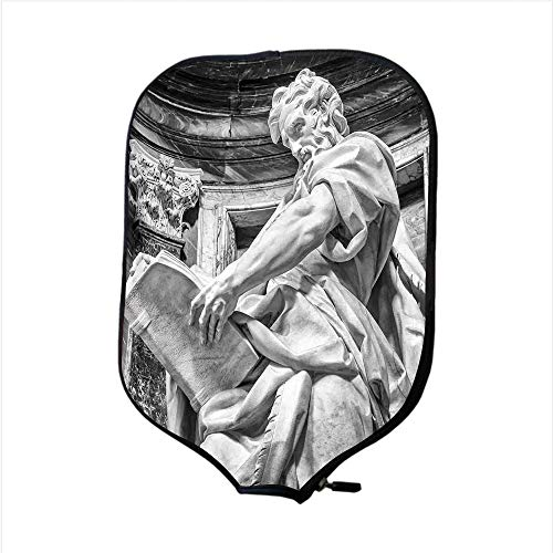 Neoprene Pickleball Paddle Racket Cover Case,Sculptures Decor,Statue of St. Matthew at The Basilica of St. John Lateran in Rome Cthedra with Pillars,Bronze,Fit for Most Rackets - Protect Your Paddle