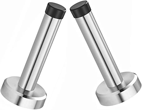 Wall Mounted Solid Doorstops with Screws Sumnacon 3 Pcs Stainless Steel Door Stoppers Heavy Duty Door Stops with Sound Dampening Rubber Bumper Top Brushed Finish