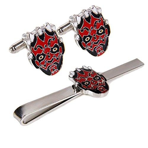 V G S Eternity Fashions Fashion Jewelry ~ Star Wars Darth Maul Head Flaming Skulls Tie Bar and Cufflinks Set (DH-CF270-2) (Skull Flaming Head)