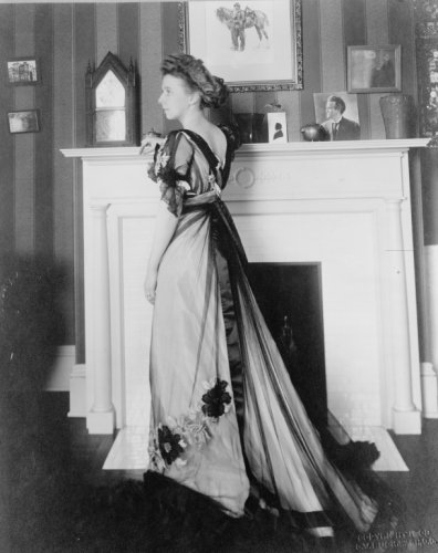 1909 photo Mary McConnell Borah, full-length portrait, in gown, posed leaning on a fireplace mantel graphic / G.W. Buck, Wash., D.C. Vintage 8x10 Photograph - Ready to Frame by Historic Photos