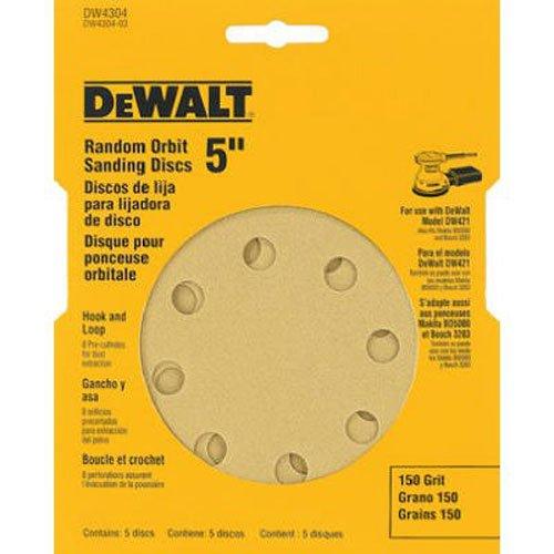 DEWALT DW4304 5-Inch 8 Hole 150 Grit Hook and Loop Random Orbit Sandpaper (5-Pack) Dewalt Sanding Disk