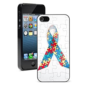 Apple iPhone 5c Black 5CB757 Hard Back Case Cover Color Puzzle Autism Awareness Ribbon