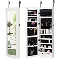 NEX LED Wall-Mounted Jewelry Armoire with Mirror (White)
