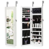 NEX LED Wall-Mounted Jewelry Armoire with Mirror 2 Drawers Lockable Hanging Jewelry Organizer, White