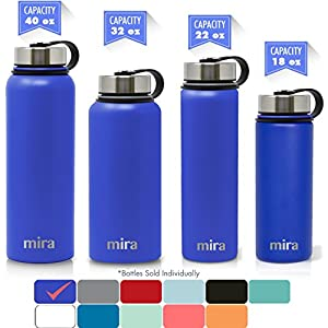 MIRA 18 Oz Stainless Steel Vacuum Insulated Wide Mouth Water Bottle | Thermos Keeps Cold for 24 hours, Hot for 12 hours | Double Walled Powder Coated Travel Flask | Blue