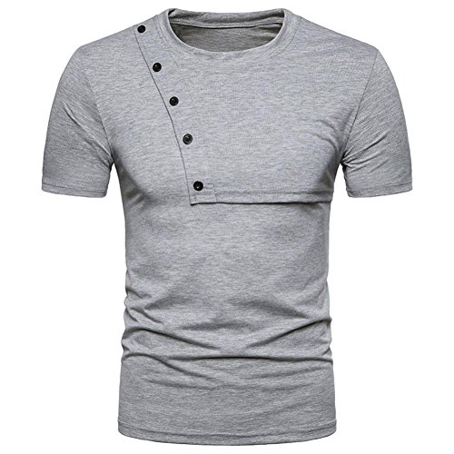 ♥2018 Men Blouse♥,Sunfei Fashion Personality Men's Casual Slim Zipper Short Sleeve T Shirt Top Blouse (Gray, S) by Sunfei-Men Blouse