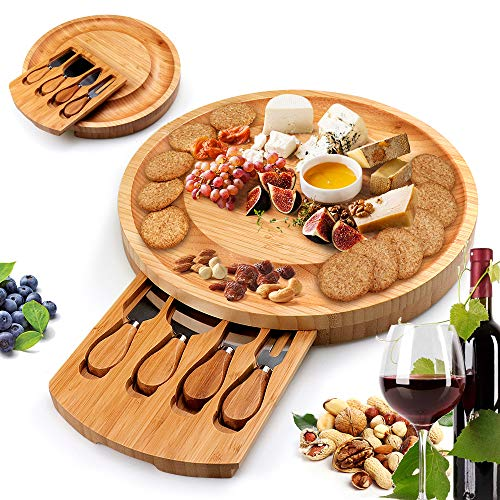 - Bamboo Cheese Board Plate with Cheese Tools, Charcuterie Platter and Serving Tray with Cheese Knife for Wine, Cracker, Brie and Meat