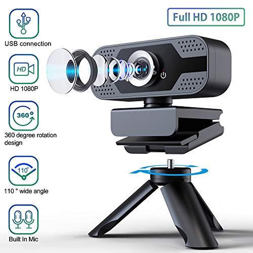 🥇 ELTD Webcam 1080P Cámara Web Full HD USB 2.0 con Micrófono de reducción de Ruido Incorporado