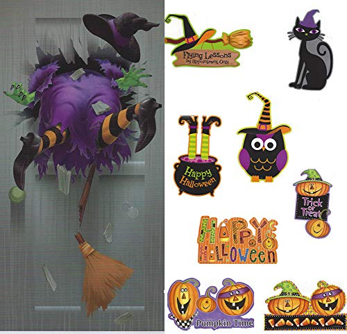Halloween Decorations Cutouts and Door Cover 9 Pieces Bulletin Board Bundle
