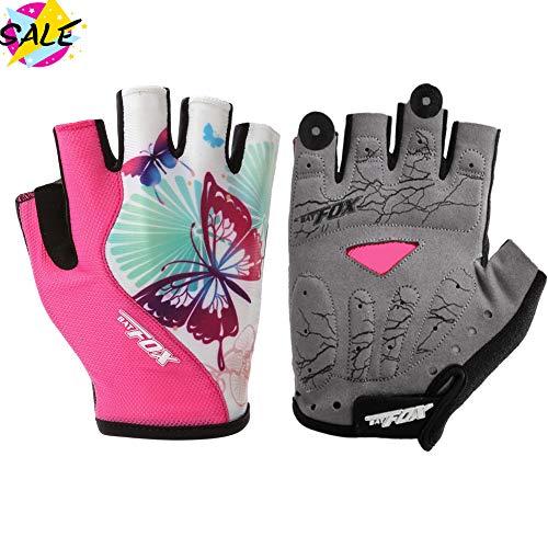 DuShow Cycling Gloves Women Half Finger Gel Padded Bike Gloves Anti-Slip Shock-Absorbing Fingerless Bicycle Short Gloves(Pink,S)