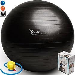 Exercise Ball, LuxFit Premium EXTRA THICK Yoga Ball '2 Year Warranty' - Swiss Ball Includes Foot Pump. Anti-Burst - Slip Resistant! 45cm, 55cm, 65cm, 75cm, 85cm Size Fitness Balls (Black, 45cm)