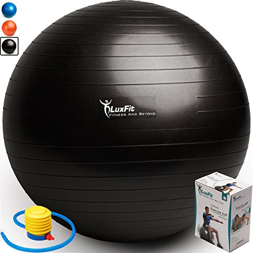 - LuxFit Exercise Ball, Premium EXTRA THICK Yoga Ball '2 Year Warranty' - Swiss Ball Includes Foot Pump. Anti-Burst - Slip Resistant! 45cm, 55cm, 65cm, 75cm, 85cm Size Fitness Balls (Black, 75cm)