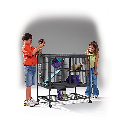 Image of MidWest Deluxe Ferret Nation Single Unit Ferret Cage (Model 181) Includes 1 Leak-Proof Pans, 1 Shelf, 1 Ramps w/Ramp Cover & 4 locking Wheel Casters, Measures 36