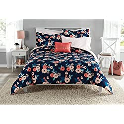 Mainstays Reversible Garden Floral Bed in a Bag Bedding Set, Twin/Twin XL Comforter Set (Full)