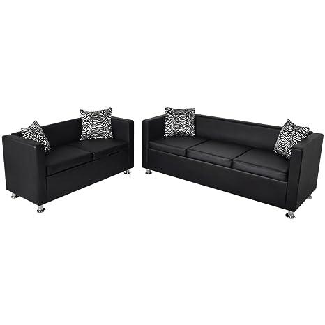 vidaXL Set de Dos sofás de Cuero Artificial Negros de 2 ...