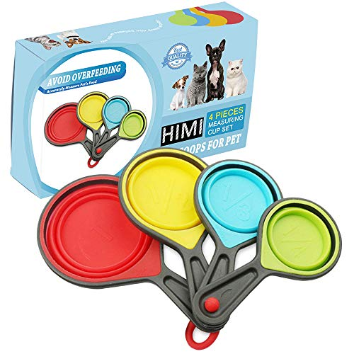 Himi Pet Food Scoops Silicone Collapsible Measuring Cups - Set of 4 - Great for Dog, Cat and Bird Food
