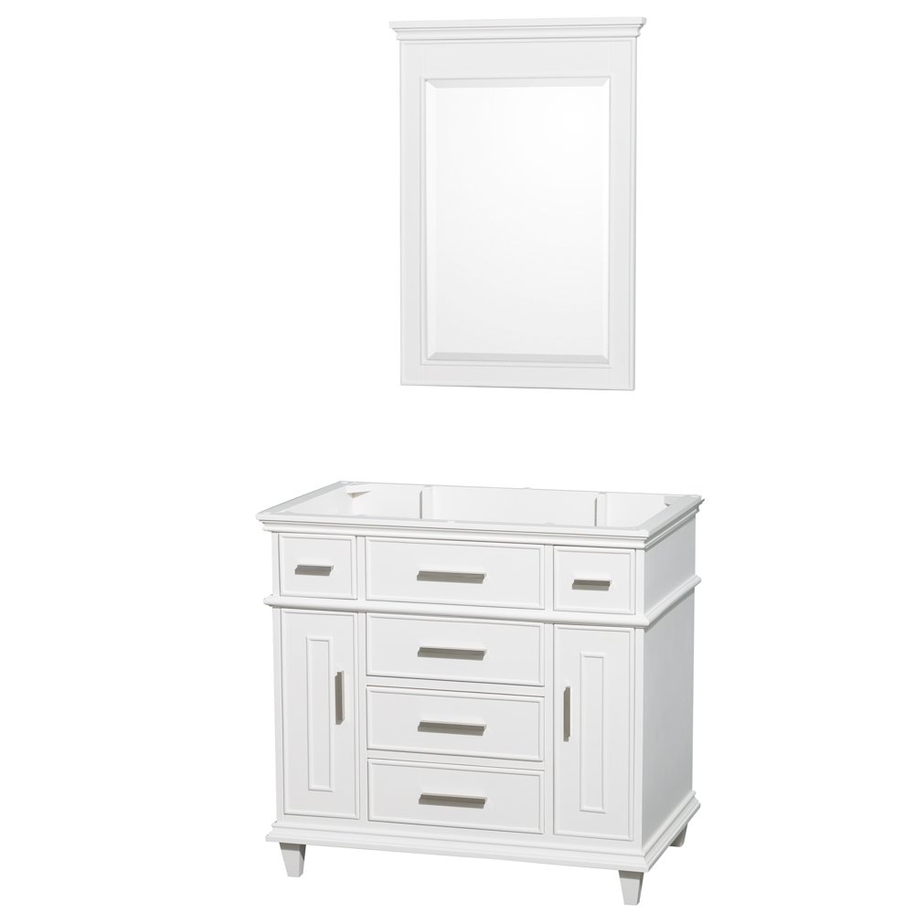 Wyndham Collection Berkeley 36 Inch Single Bathroom Vanity In White With White Carrera Marble Top With White Undermount Oval Sink And 24 Inch Mirror