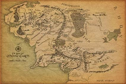 Amazon Com Map Of Middle Earth The Lord Of The Rings Nice Silk