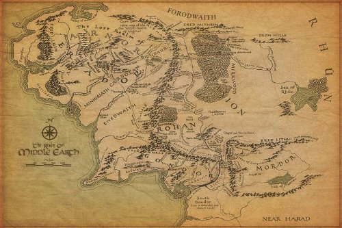 Map Of Middle Earth The Lord Of The Rings Nice Silk Fabric Cloth Wall Poster Print (36x24inch) (24x36 Lord Of The Rings)