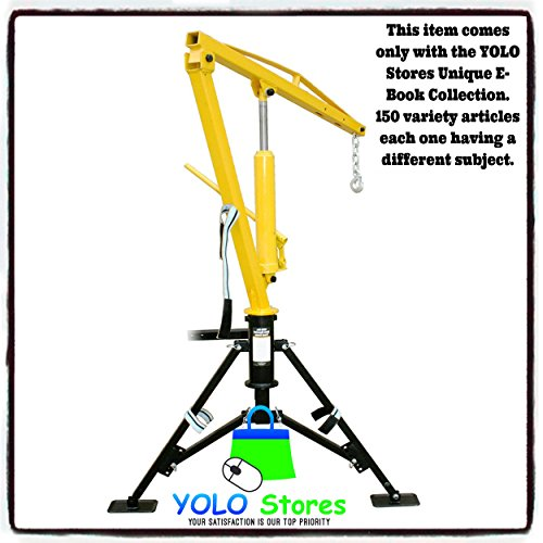 YOLO Stores Hitch Receiver Mounted Crane 500, 700, 1000 lbs Capacity, Portable, Low Storage, Swivels 360
