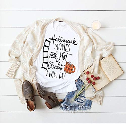 aae39c16f898 Amazon.com: Womens Fall and Winter Tshirt Hallmark Movies and Hot Chocolate  Christmas Tee: Handmade