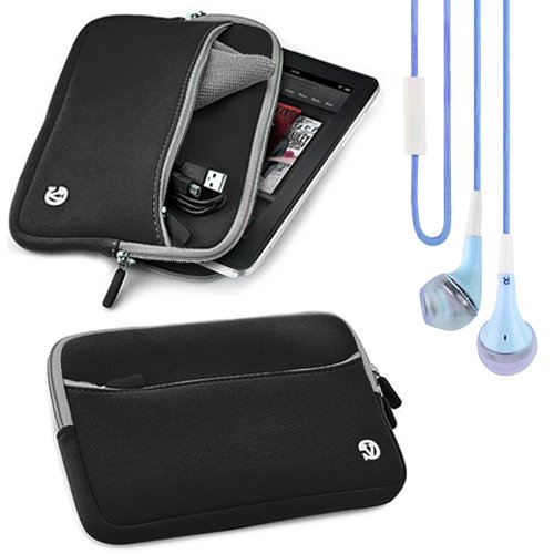 (Black) VG Neoprene Sleeve Cover for Samsung Galaxy Tab 3 8.0 Tablet + Blue Vangoddy Headphones