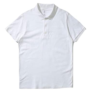 c4556a4bf Abetteric Men Essential Summer Cool Soft Cotton Relaxed-Fit Polo Shirt White  XS