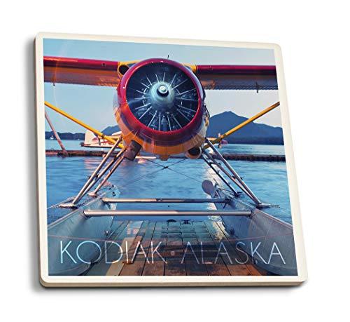 Lantern Press Kodiak, Alaska - Seaplane (Set of 4 Ceramic Coasters - Cork-Backed, Absorbent)