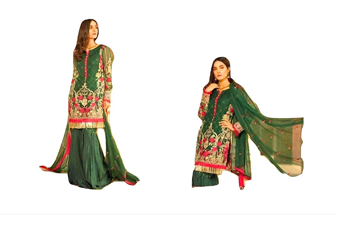 f51c75e8ca Alzawiah Women's Faux Georgette Semi-stitched Pakistani Suits (Green):  Amazon.in: Clothing & Accessories