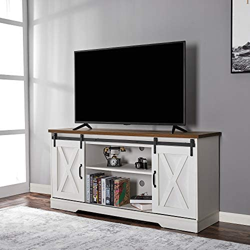 Amerlife TV Stand Sliding Barn Door Modern Farmhouse Wood Entertainment Center