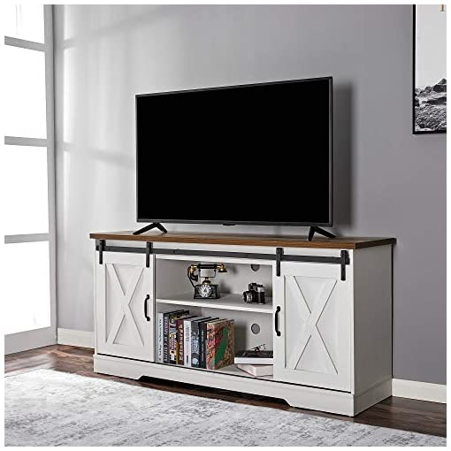 Farmhouse Living Room Furniture Amerlife TV Stand Sliding Barn Door Modern&Farmhouse Wood Entertainment Center, Storage Cabinet Table Living Room with… farmhouse tv stands