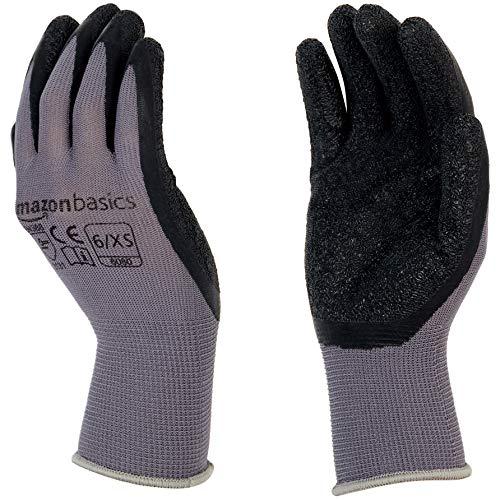 - AmazonBasics Latex Coated Work Gloves, Nylon Liner Fiber, Grey, Size 6, XS, 12-Pair