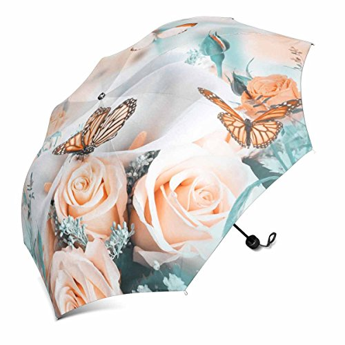 Yellow Butterfly Roses (InterestPrint Bouquet for the Bride of Yellow Roses and White Calla Lilies, Butterfly Foldable Portable Outdoor Travel Compact Waterproof Umbrella)