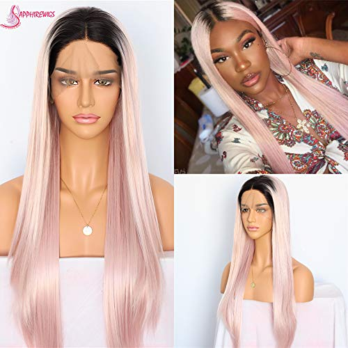 Sapphirewigs Long Dark Root Ombre Pink Color Heat Resistant Hair High Density Blogger Celebrity Daily Makeup Synthetic Lace Front Wedding Party Wigs